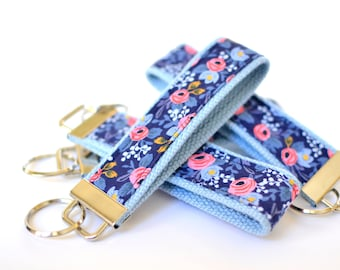Fabric Key Chain, Floral Key Fob Wristlet, Gift for Teen Girl, Navy Key Wristlet, Rifle Fabric Keychain Blue Wrist Key Chain New Driver Gift
