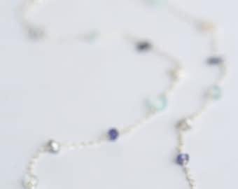 Blue Stone Necklace, Aquamarine Necklace, Tanzanite Necklace, Mint Necklace, Chalcedony Necklace, Gemstone, Multi Stone Necklace, Delicate