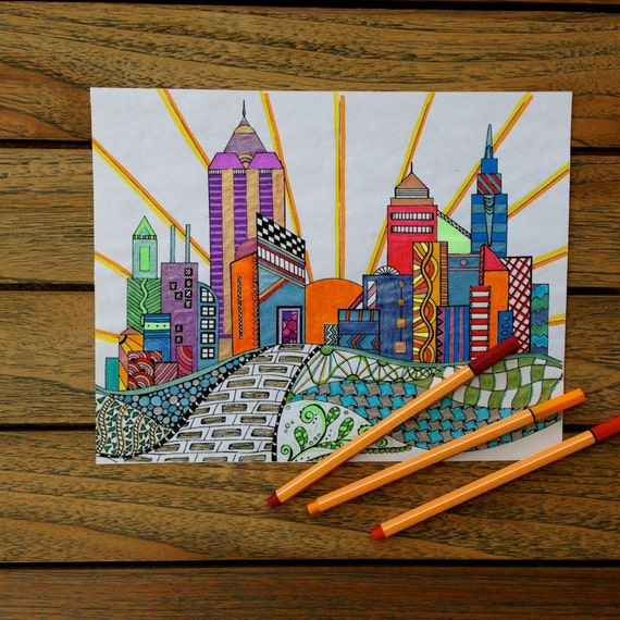 cityscape coloring page