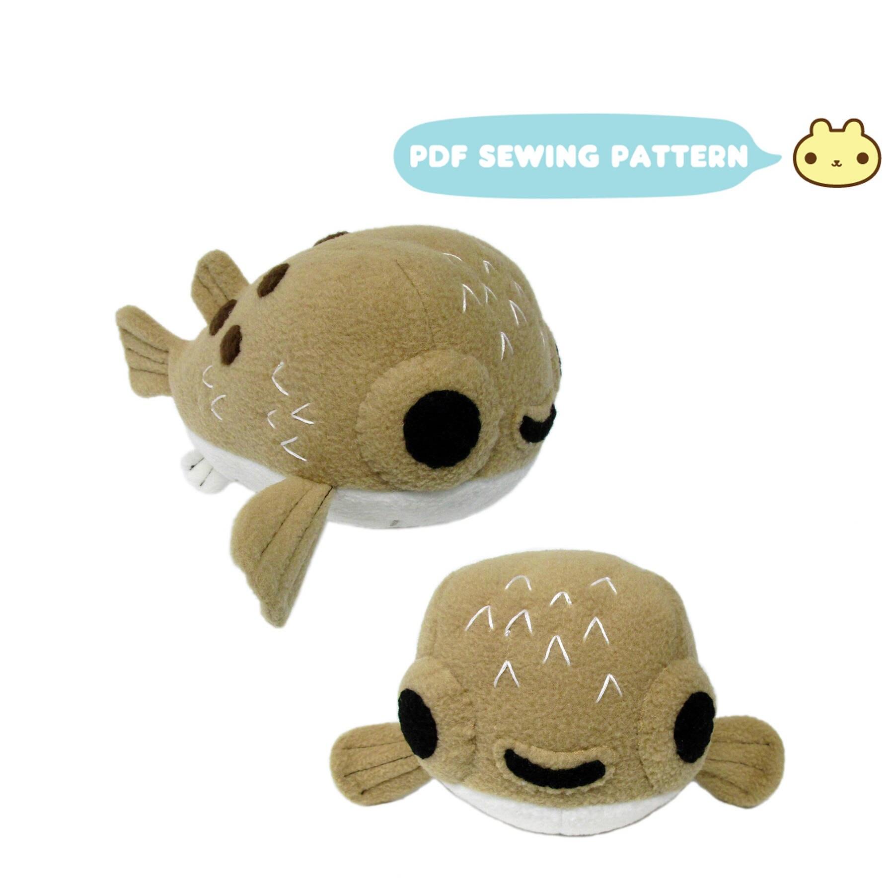 Stuffed Animal Pufferfish Pattern Plush Sewing Pattern
