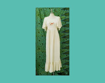 Vintage 1970s Gauzy Cotton Maxi Dress Embroidered