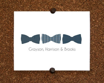 Triplet Baby Bow Tie Thank You Note Cards. Triplet Bow Tie Stationery. Personalized Stationery. Bowtie (Sets of 10)