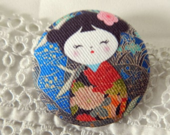 Fabric button, printed Japanese, 1.25 in / 32 mm