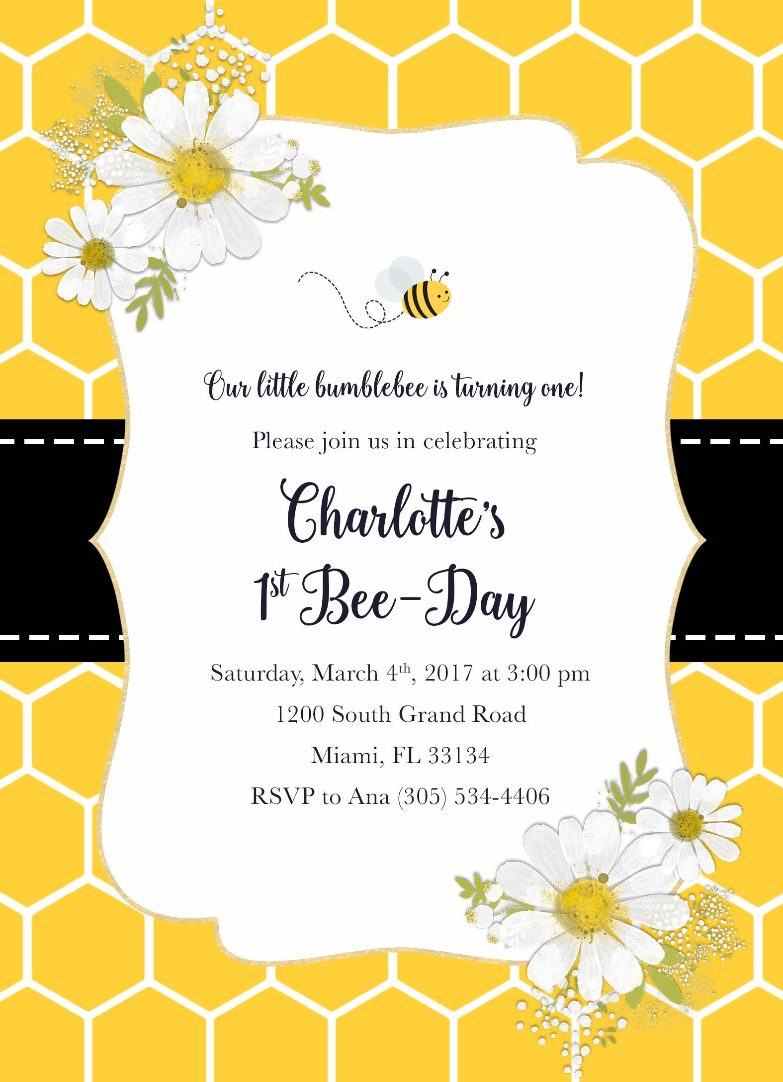 Bee birthday invitation bee invitation bee day invitation bee bee birthday invitation bee invitation bee day invitation bee birthday party invite honeycomb invite first 1st birthday invitation girl filmwisefo Images