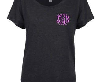Wide Neck Monogrammed Shirt - personalized shirt - custom- Tri blend shirt- wide neck shirt- monogrammed shirt