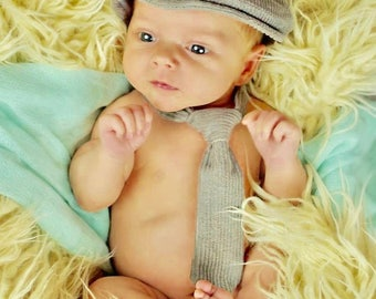 Newborn boy hat, Newborn baby hat and necktie photo prop set, newborn baby boy hat, gray corduroy newborn newsboy hat  -  made to order