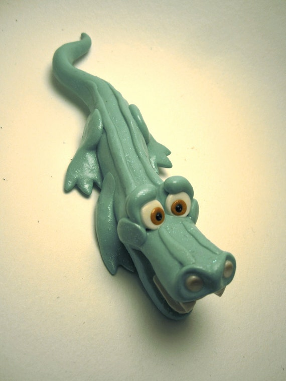Smiling Glitter Crocodile Figurine Custom Animal Cake Topper