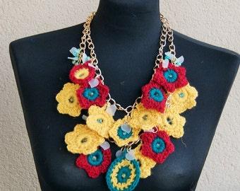 Summertime Statement  Bib crochet necklace with bead, metallic ,avant- garde, boho, crochet necklace,bohemian style
