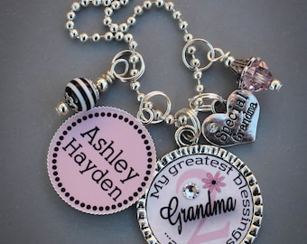 Personalized Grandma Necklace, Personalized Charm Necklace, Mother's Necklace, Greatest Blessing Necklace, Special Grandma Pendant,