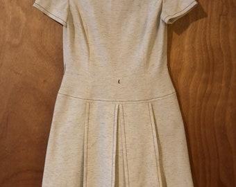 Vintage Cream Heathered Drop Waist Dress by R&K Knits