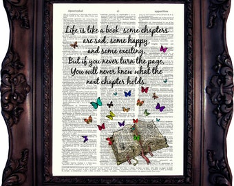 BOOK LOVER GIFT Dictionary Page Book Art Literary Quotes Gift Ideas for Book Lover Book Quote Print Housewarming Gift Book lover friendC:777