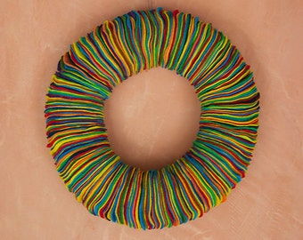 "Multicolor Eco-Friendly Felt Wreath // Colorful // 15"""