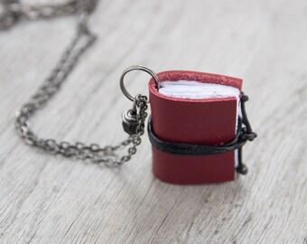 Miniature book necklace, mini book jewelry, book literature pendant, for teacher librarian book lover coworker book worm book club