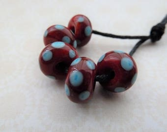 handmade lampwork red and blue spot glass bead set, UK