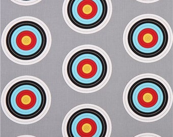 Bulls Eye Target on Grey from Robert Kaufman's Sports Life Collection
