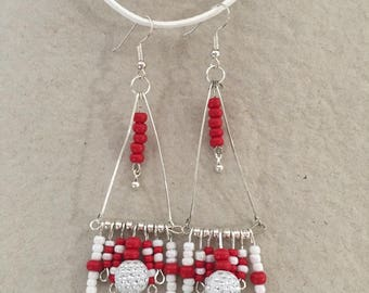 Earrings, red and white