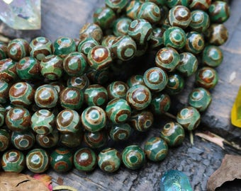 Tibetan Agate, 8mm Round, AA quality - Rustic Style Boho Chic Natural Gemstone Beads