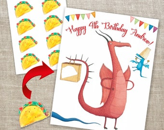 Dragons Love Tacos Pin the Tail Game, Pin the Taco in Bag Printable Game, Dragons Love Tacos Birthday Game, Pin the Tail Party DIY Game