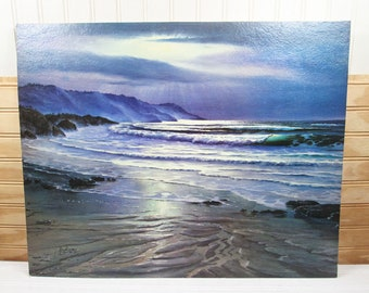 Vintage Evening Tide Ocean Print Winde Fine Prints Litho Beach by Meyer 16x20