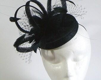 Black fascinator pillbox - retro black cocktail hat - black wedding hat