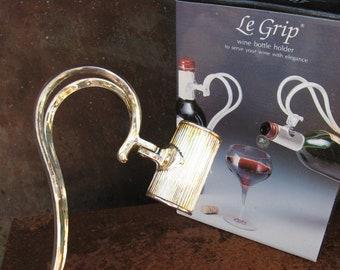 Le Grip Wine Bottle Holder, original box in French & English. Elegant vintage silver metal server, Italy. Original birthday wine lover gift