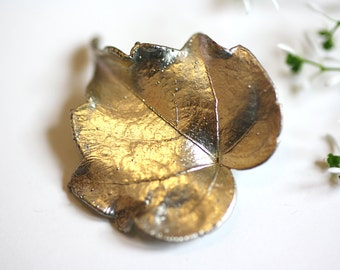 vintage leaf brooch, silver leaf jewelry, nature jewelry, brooch nature