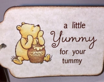 Winnie The Pooh Baby Shower Favor Tags, Baby Christening Birthday Party A Little Yummy for Your Tummy Tags - Vintage Style Set of 20