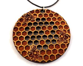 Honeycomb Osage Orange Necklace - Round Wooden Bee Pendant on cord