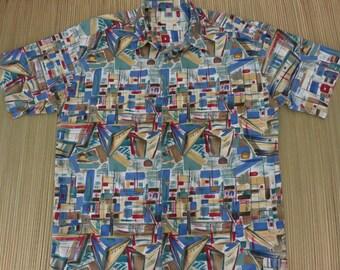 Vintage Hawaiian Shirts 90s KAHALA AVi Collection Sailboats Aloha Shirt Surf 'n Sand Casual Resort Wear Mens - L - Oahu Lew's Shirt Shack