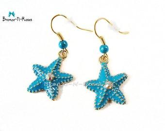 Earrings * Starfish * pearls gold tone costume jewelry