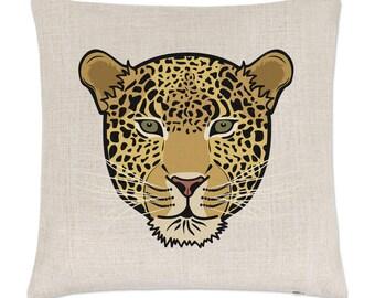 Leopard Face Linen Cushion Cover