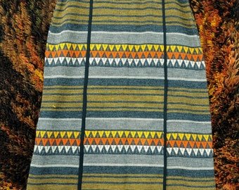 1970s Abercrombie & Fitch Wool Tapestry Maxi Skirt -- High Quality - Medium Large