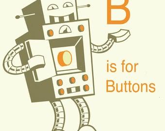 Alphabet-Kunstdruck - Roboter Kunst, Buchstabe B Kunst, Roboter-Kinderzimmer, Baby junge Geschenk, Kind-Wand-Kunst, Alphabet-Kunst, Klassenzimmer Kunst, pädagogische Kunst