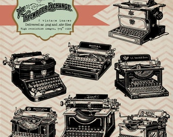 Vintage Typewriters, digital clip art and photoshop brushes: Commercial and Personal Use No.8
