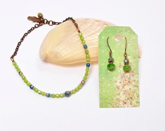 Green Ankle Bracelet and Earrings, Apple Green Anklet, Summer Jewelry