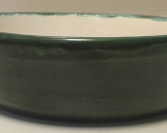 Matte Green and White Porcelain Bowl