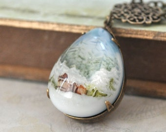women's jewelry, holiday necklace, SNOW GLOBE, vintage style hand painted forest and snow necklace antiqued brass, plasticouture