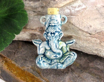 Peruvian Ceramic Raku Ganesh Bottle