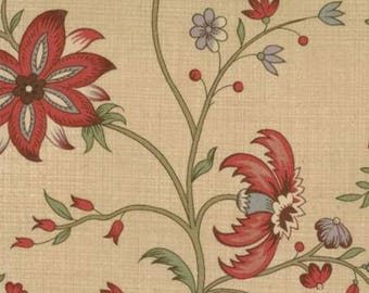 French General Floral Reproduction Florence Tan - 1/2 yd. cuts