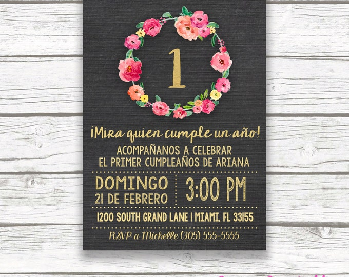 Spanish Chalkboard Gold Foil Pink First 1st Birthday Invitation, Invitación Primer Cumpleaños, Girl Niña Printable Invitation