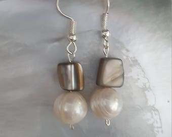 Tribal, Island, Boho, Freshwater Pearl  Mother of Pearl and Drop Earrings