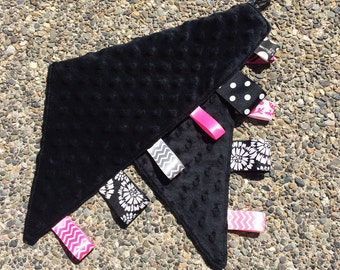 Ribbon Burpie / Minky Burp Cloth: Black Girl-Themed Ribbons Boy Available, Personalization Available