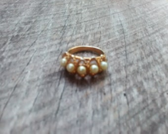 Vintage Gold Tone & Faux Pearl Ring, Inv.#261