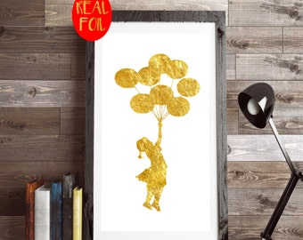 Banksy balloon girl, Real Foil gold print, Metallic foil art card backed foiled not printed rose, gold, silver,pink,blue, sparkle