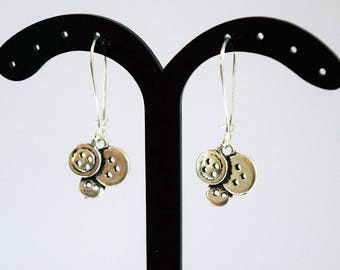 Cute Antique Silver Button Design Silver Plated Drop Earrings