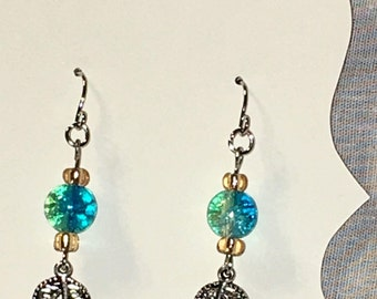 Stunning turquoise and silver leaf drop earrings