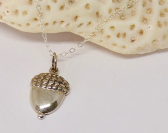 Sterling Silver Acorn Necklace, Acorn Jewelry, Graduation Gift, Good Luck Necklace,  Acorn Pendant, Lucky Jewelry Gift, Nursing School Gift