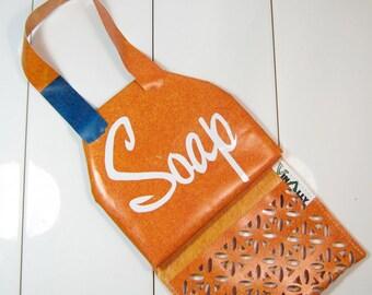 Hanging Soap Caddy Bag Orange Blue Recycled Billboard
