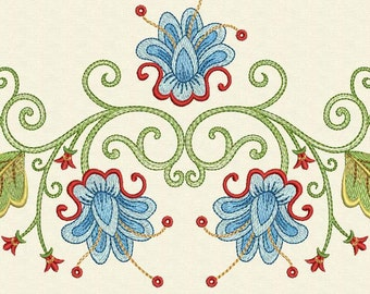 INSTANT DOWNLOAD Blue Flower Machine Embroidery Designs Set FL001