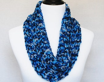 Blue and Gray Crochet Scarf, Navy Blue Crochet Cowl, Dark Blue Neck Warmer, Soft Handmade Cowl, Short Infinity Scarf